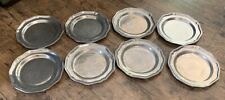 """Vintage Wilton Armetale Pewter QUEEN ANNE 8 Salad Lunch plates 9"""" Columbia USA"""