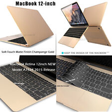 For 12-inch Macbook Retina 2015 Gold Rubberized Matte Hard Case Keyboard Cover