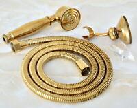 Gold Color Brass Bathroom  Hand Held Shower Spray Head &1.5m Hose & Wall Bracket
