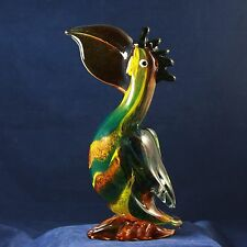 "LARGE VINTAGE MURANO HAND BLOWN GLASS TOUCAN BIRD CRISTALLERIA D'ARTE 10"" TALL"