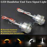 Silver Motorcycle LED Handlebar Turn Signal Lights Bar End Grip Indicator Lamp