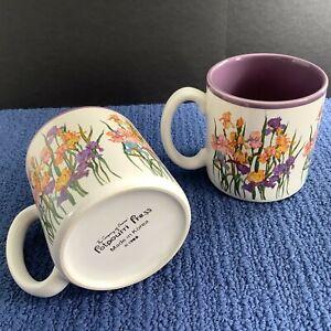 2 Potpourri Press Floral Iris Vtg 1988 Coffee Mugs 11-Oz Gorgeous Purple Inside!