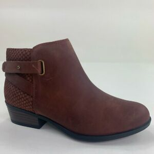 Clarks Womens Addiy Gladys Ankle Booties Brown Leather Snakeskin Zipper 5.5M New