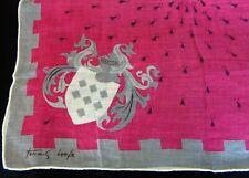 Vintage Tammis Keefe Heraldic Coat of Arms Linen Handkerchief Hand Rolled Hem