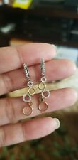 Stunning 18K White/Yellow Gold and Diamond Dangle Earrings