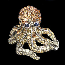 Sapphire Multi-Color Round Diamond Cut 2mm 925 Sterling Silver Octopus Ring 9