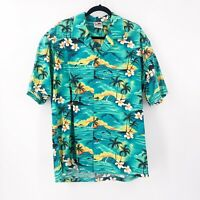 Original Hawaiian Togs Mens Button Up Shirt XL 100% Cotton Made In Hawaii Green