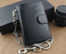 Men's Real Leather Biker Trucker Rock Money Coins Short Chain Wallet Purse Black