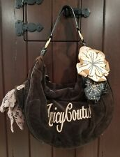 Juicy Couture Velor Brown And Leather Handbag Shoulder bag pursewith flower