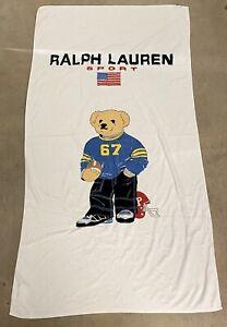 Ralph Lauren Sport Vintage 90's Bear Beach Towel Bath Sheet American Football