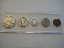 NICE 5 U.S. OBSOLETE COIN SET IN HOLDER                  (5-24)