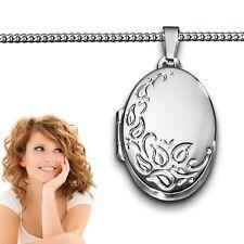 Frauen Foto Medaillon für 2 Bilder Amulett Anhänger oval mit Kette Silber 925