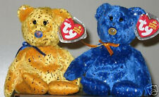 Ty Beanie Baby Bears ~ Discover Northwestern Mutual Exclusive Bear Set Blue Gold