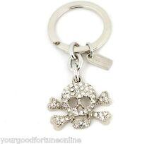 NEW Coach Silver Skull Pave Swarovski Crossbones  Crystal Key Ring Chain 92413