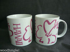2 Vintage Hilo Hattie Hawaii Coffee Mugs Cup Luau Tiki Pink Anthiruium Flower