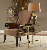 """NEW 26"""" AGED GOLD LEAF FINISH IRON ACCENT SIDE END TABLE GLASS TOP & SHELF"""