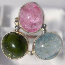 Chrome diopside, aquamarine, tourmaline silver ring