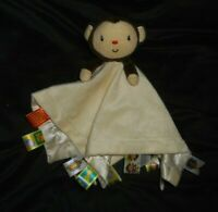 TAGGIES BROWN BABY MONKEY CREME SECURITY BLANKET STUFFED ANIMAL PLUSH LOVEY SOFT