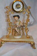 Vntg Clock on Onyx/Brass Platform w Porcelain Child Figure Entertaining  #99914H