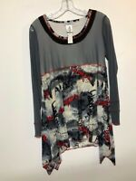 "DZHAVAEL Couture Gray Sheer Top Tunic Asymmetric Hem Red ""Women"" Size Large NWT"