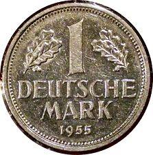 GERMANY ~ 1955-G 1 DEUTSCHE MARK ~ KM #110 ~ RARE DATE & MINT ~ NICE LUSTER AU