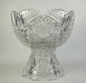 Antique Libbey American Brilliant Cut Glass Punch Bowl & Stand