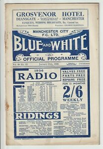 Manchester City V Portsmouth FA Cup Third Round Programme 1935/36