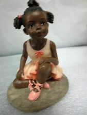 """Ballerinas dancer African-Americana figurine """" tall in box 3 tone outfit melons"""