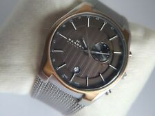 Skagen GMT Dual Time Alarm Watch 853XLSRM Rose Gold Edition, Boxed with Manual