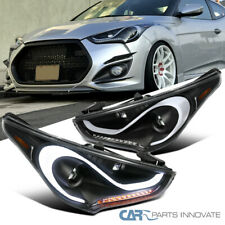 12-17 For Hyundai Veloster LED DRL Sequential Signals Projector Headlights Black