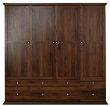 Walnut Modern Wardrobes with 4 Doors