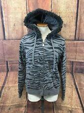 Women's Volcom Full Zip Zebra Stripes Gray Hoodie Size L