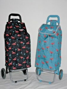 "24"" Lightweight Pull Along Shopping festival trolley in new flamingo print."