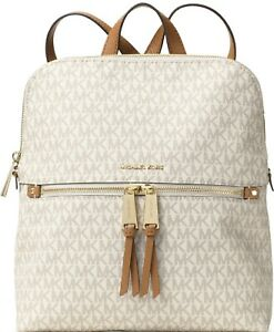 Michael Kors Rhea Zip Medium Slim Vanilla MK Signature Backpack, School Bag