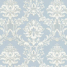 Damask with Victorian Flair Silvery Blue Wallpaper SD25646 Double Roll FREE SHIP