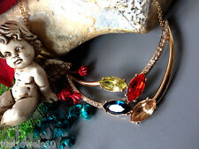 Necklace Multi Crystal Gem Gift set Peridot, champagne sapphire Blue Bib Womens