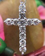 14KT White Gold Diamond Cross Diamond Pendant 2.10ct With 14kt White Gold Chain