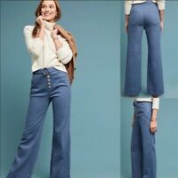 Anthropologie Cassidy bell bottom wide leg rayon blend blue pants button front 0