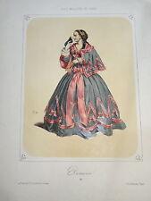 BELLE LITHO COULEUR PORTRAIT COSTUME THÉÂTRE FEMME MODE ITALIE BAL PARIS 1850