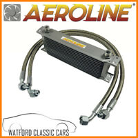 MGB 1976-1982 Aeroline Silver 15 Row Oil Cooler With Stainless Steel Hoses