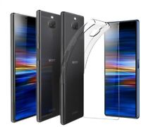 For Sony Xperia 10 Plus Case Clear Slim Gel Cover & Glass Screen Protector