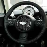For Mini Cooper R55 R56 R60 R61 Carbon Fiber Steering Wheel Sticker Cover Trim