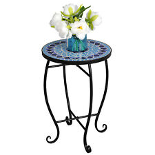 Round Side Mosaic Accent Table Patio Plant Stand Curvaceous Legs Easy Movable