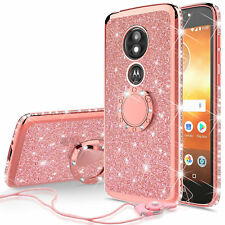Moto E5 Cruise Diamond Glitter Ring TPU Phone Case With Neck Strap Bling Cover