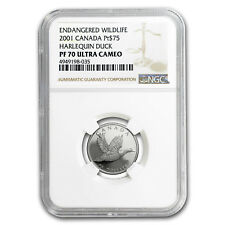2001 Canada 1/4 oz Proof Platinum $75 Harlequin Duck PF-70 NGC