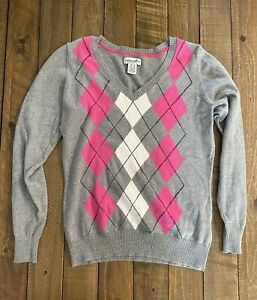 Argyle Woman Long Sleeve V-Neck Gray Pullover Sweater Size Medium Caribbean Joe