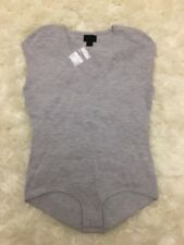 New JCrew Collection Cap-sleeve Bodysuit Featherweight Cashmere Gray Sz S G2896