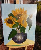 SUNFLOWERS STILL LIFE SIGNED F. ARENDT (FRED? GERMAN BORN 1928) OIL PAINTING