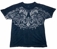 Affliction Mens Los Angeles Trademark Short Sleeve Printed T Shirt Black Size XL