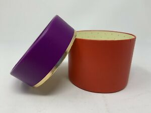 Kate Spade Round Gift Box 3.25 x 2.50 Inches Empty Display Purple Red Gold